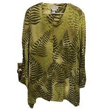 Diane Gilman Top Size 2X Silk Green Tunic Beaded Button Front Flowy Boho