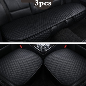 3Pcs Car Seat Cover Cushion Protector Front & Rear Full Set PU Leather Interior
