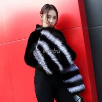 Women Mink Fur Fox Coat Jacket Short Cape Fashion Stand Collar Outwear Casual SZ