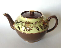 Sadler Teapot - Brown And Yellow Green With Brilliant Gold Accents - England
