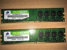 2Gb 2xCorsair VS1GB667D2 1GB PC-5300 DDR2 Memory