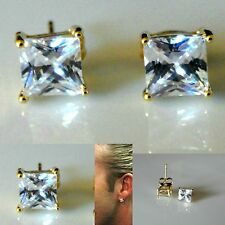 Men's square 6mm simulated diamond yellow gold filled  stud earrings UK