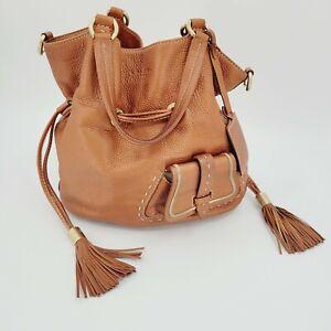 Lancel Premier Flirt Hobo Bucket Bag Camel Grained Leather Tassel Shoulder Bag