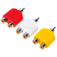 3 Pcs RCA Y Splitter Audio Video Plug Converter 1-Male to 2-Female Cable Adapter