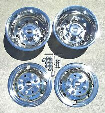 """Ford E350 E450 RV Motorhome 16"""" 92-07 Stainless Dually Wheel Liners BOLT ON"""