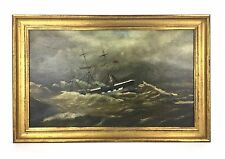 Antique 1917 Signed Maritime 3 Mast Schooner Ship in Storm Oil Painting