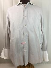 Men's Brioni Made Italy Gray Stripe Long Sleeve Dress Shirt 16.5 R French Cuff