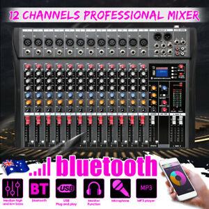 12 Channels Audio Mixer Live Studio Sound USB Mixing bluetooth Console DJ Stage