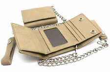 Trifold Taupe Genuine Leather Wallet with Scale Texture Design with a Chain