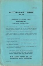 Austin Healey Sprite Mk 2 Schedule of Repair Times 1961 AKD 1893