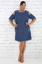 Plus Size Distressed Frayed Pocket Cold Shoulder Light Dark Denim Dress 1X 2X 3