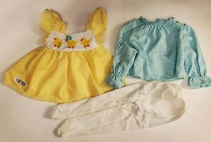 Vintage 1985 Hasbro Real Baby Doll Outfit Clothes Overalls Dress, Shirt, Tights