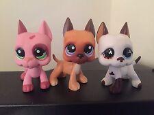 3x Littlest Pet Shop GREAT DANE Dogs # 244 # 577 Brown & # 2598 Pink USA Seller