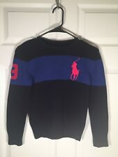 Boys Size 8 Polo Ralph Lauren Childrenswear Multicolor Sweater With Big Red Pony