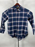 Wrangler Sz M Blue Plaid 100% Cotton L/S Flannel Button Shirt