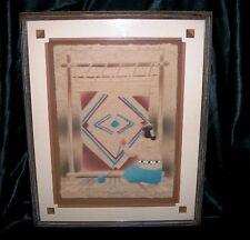 "Figi Graphics Art ""Weaver"" Signed By Wess 1992 Cast Paper Mache Framed W/Matting"