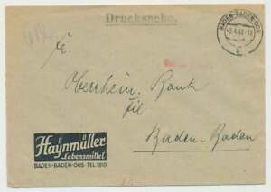 Fr. Zone Gebühr-Bezahlt Drucksache BADEN-BADEN 2.4.48 (51566)