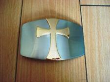 Chrome Church Cross Gold Heavy Duty Belt Buckle