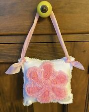 NEW Handmade Hanging Small Chenille Flower Pillow Chenille Bedspread  Pink White