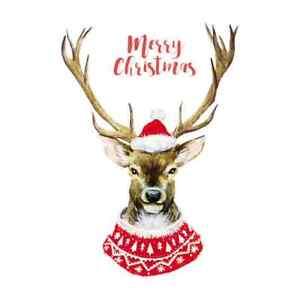 MERRY CHRISTMAS REINDEER  A5  IRON ON T SHIRT TRANSFER