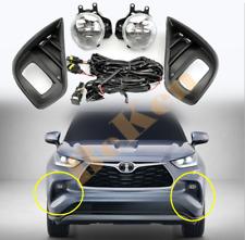 For Toyota Highlander 2020 2021 Front fog lamp Kit w/Bulb Switch Cable Bezel