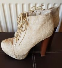 ladies ivory gold lace shoes high block heel lace up size 6