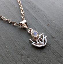 Tiny 925 Sterling Silver Lotus flower & Rainbow Moonstone Charm Pendant chakra