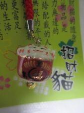 Maneki Neko LUCKY CAT ceramic key bag charm Cell Phone strap#TB07 Ca un15