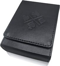 Luck Lab Single Deck Leather Playing Card Case/Holder Black Fits Poker Bridge Si