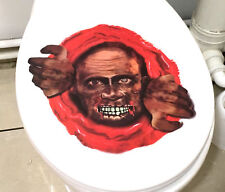 SPOOKY SCARY HALLOWEEN TOILET SEAT STICKER DECORATION ZOMBIE HEAD BLOOD PARTY