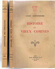 SCHOONHEERE-HISTOIRE DU VIEUX COMINES ET SOUS LA REVOLUTION-2VOLS-LIVRE ANCIEN