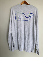 Vineyard Vines Gray L/S Spellout Pocket Mens T-Shirt Sz XL Double Sided
