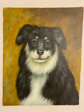 8x10 Happy Border Collie Dog Hand-Painted Oil on Canvas