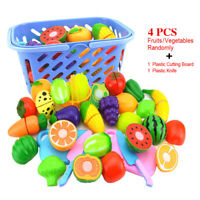 Kitchen Fruit Vegetable Food Cutting Toy Set Pretend Role Play for Kids Funny US