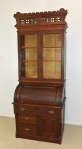 Antique Eastlake Cherry Cylinder Roll Top Desk With Bookcase