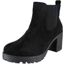 Womens Ladies Girls Mid Heel Ankle Casual Work Chelsea BOOTS Shoes Size UK 6 / EU 39 / US 8 Black