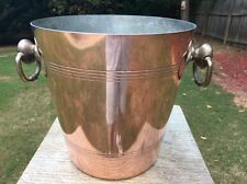 "Mauviel 1 Large Bottle 8"" Copper Champagne/Wine Ice Bucket France Tin Lined SLT"