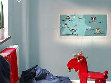 Kinderzimmer Scheibe für IKEA GYLLEN Wandlampe 56cm mit Motiv: Acht Eulen Design