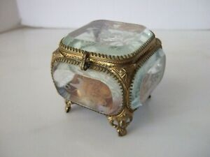 Antique Small Jewelry Casket Ring Casket Engraved Beveled Glass