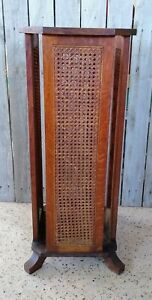 Antique Victorian Caned Oak Umbrella Cane Hall Tree Stand