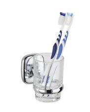 WENKO Zahnputzbecher mit Wandhalterung ideal für WC Bad Dusche klares Glas