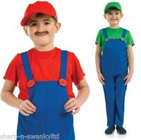 Garçons Enfants Mario ou luigi plombier années 80 Costume Déguisement 4-12 Ans