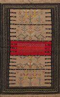 Tribal Geometric Kilim Oriental Area Rug For Living Room Wool Hand-Woven 4x6 ft
