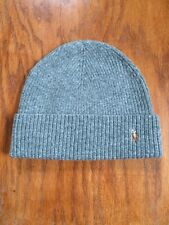 NWT POLO RALPH LAUREN MERINO LAMBSWOOL FAWN GREY GRAY HEATHER CAP SKULLY BEANIE