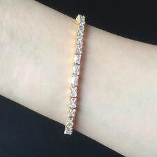"7.25"" Women Emerald Cut White Topaz Zircon CZ Yellow Gold Filled Tennis Bracelet"