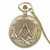 Freemasonry Steampunk Quartz Antique Vintage Pocket Watch Chain Necklace Pendant