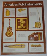 "VINTAGE 1976 'AMERICAN FOLK INSTRUMENTS' MUSIC HISTORY CLASSROOM POSTER! 17x22"""