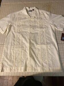 Centro Cuffed Guayabera Casual Button Down Shirt Size Large NWT Ivory