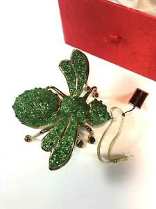 Gorgeous NIB Joan Rivers Blown Glass 2007 Green Jeweled Bee Ornament Holiday