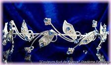 "DIADEME cristal bleu Mariage Bijoux Mariée ""feuillage"""